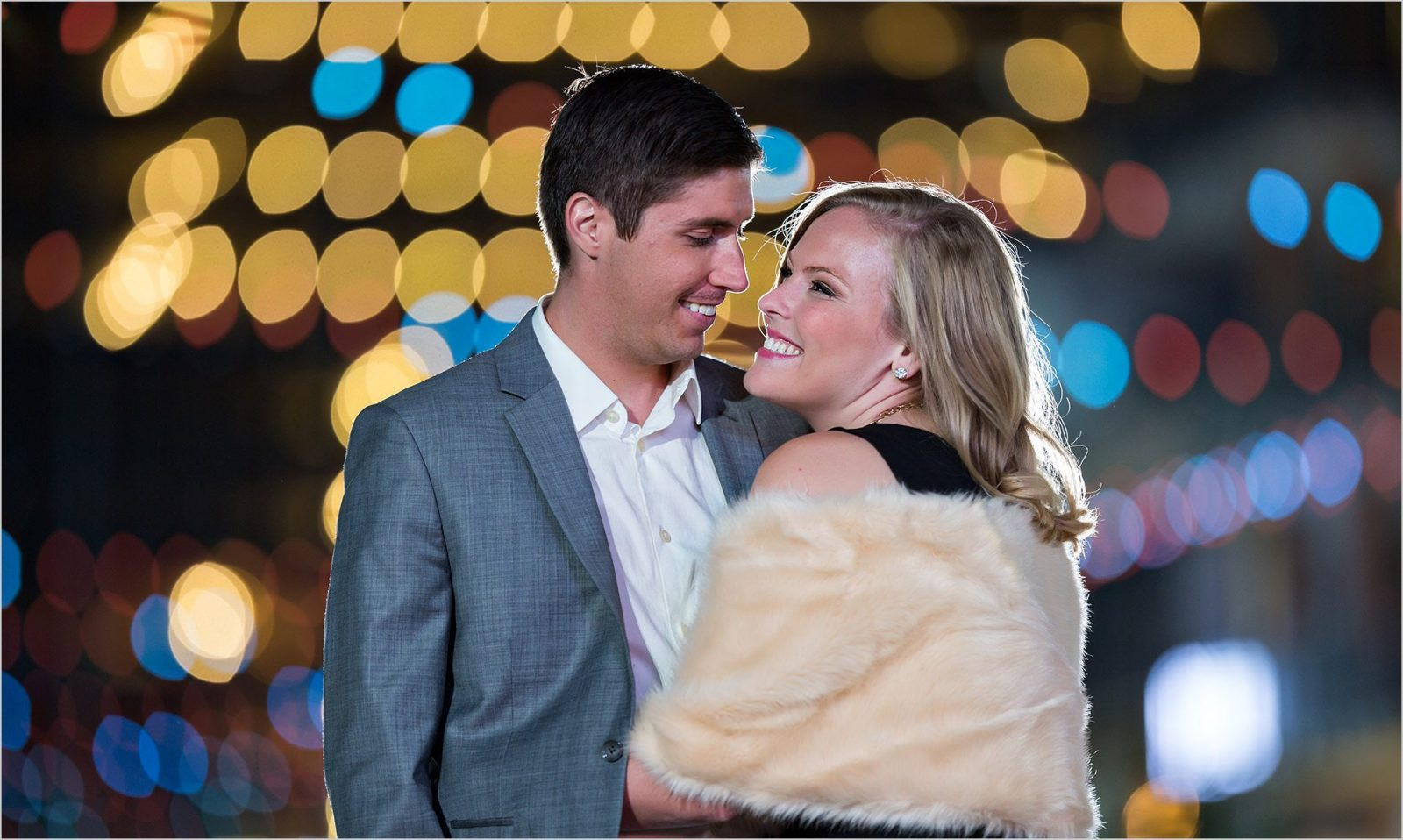 Cincinnati Wedding Photographers Downtown Cincinnati Night Engagement