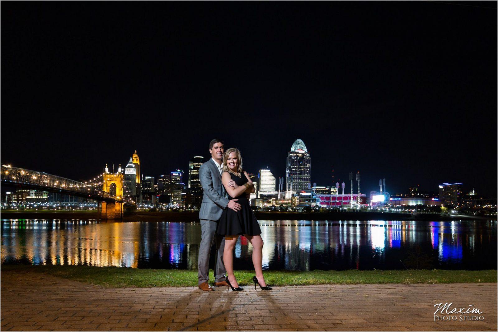 Cincinnati skyline night engagement