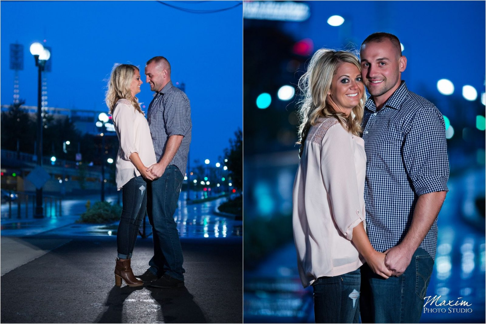 Cincinnati Smale Riverfront Park night engagement
