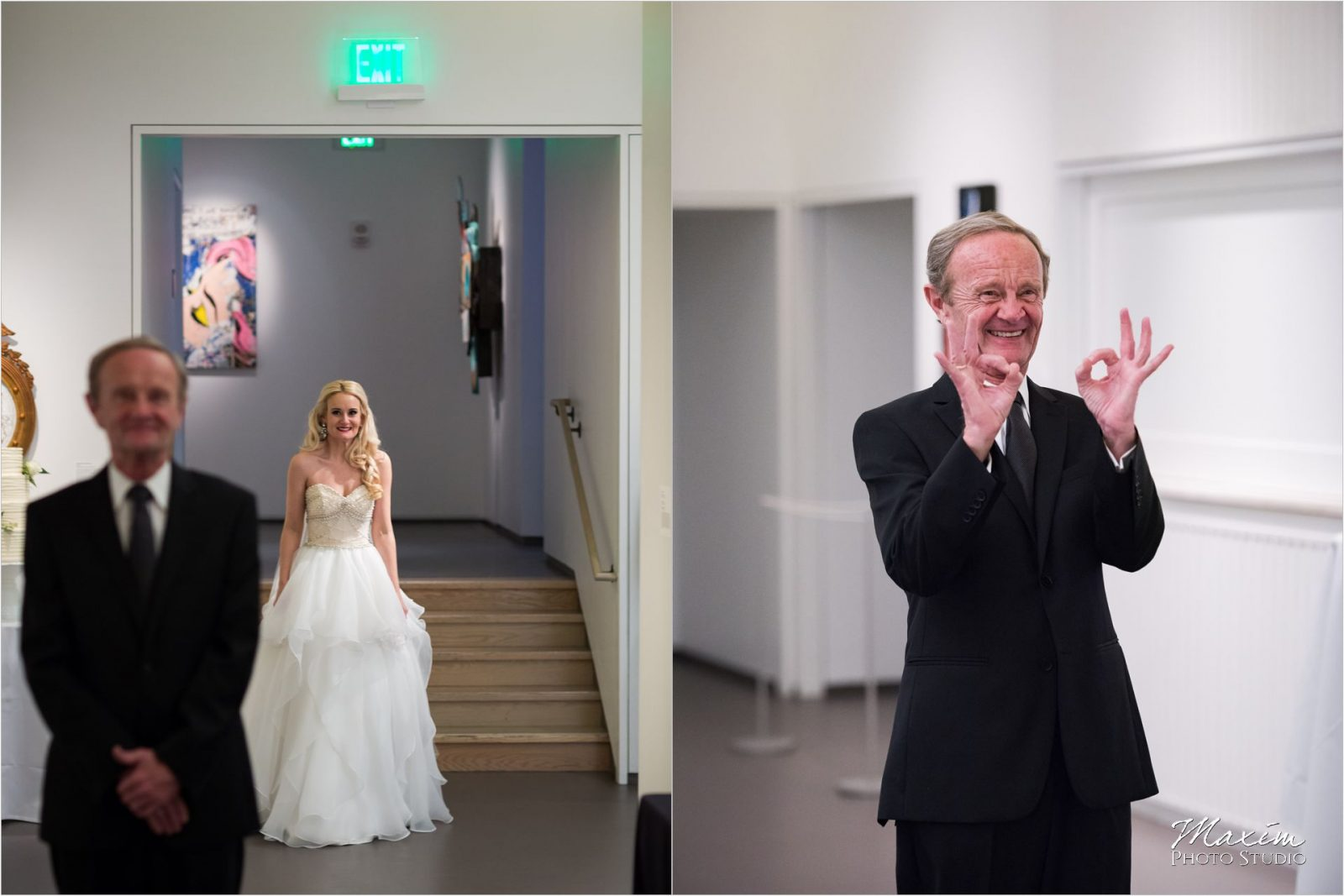 Cincinnati Wedding Photographers 21C Museum Hotel bride father first look