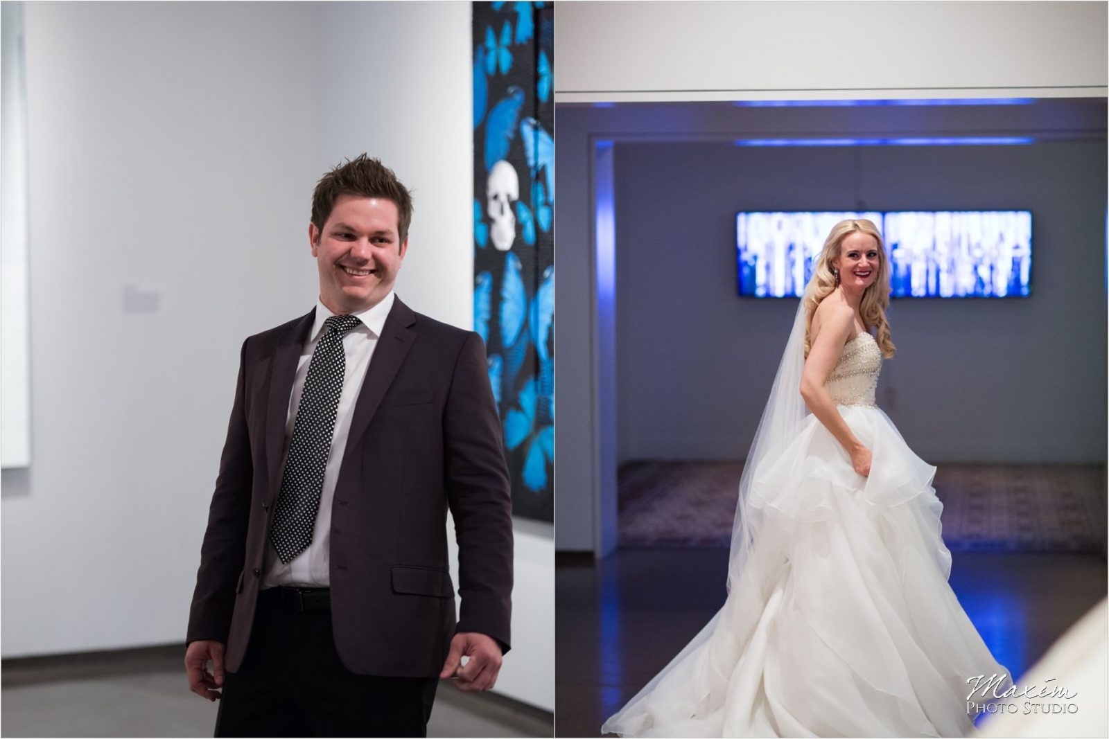 Cincinnati Wedding Photographers 21C Museum Hotel bride groom first look