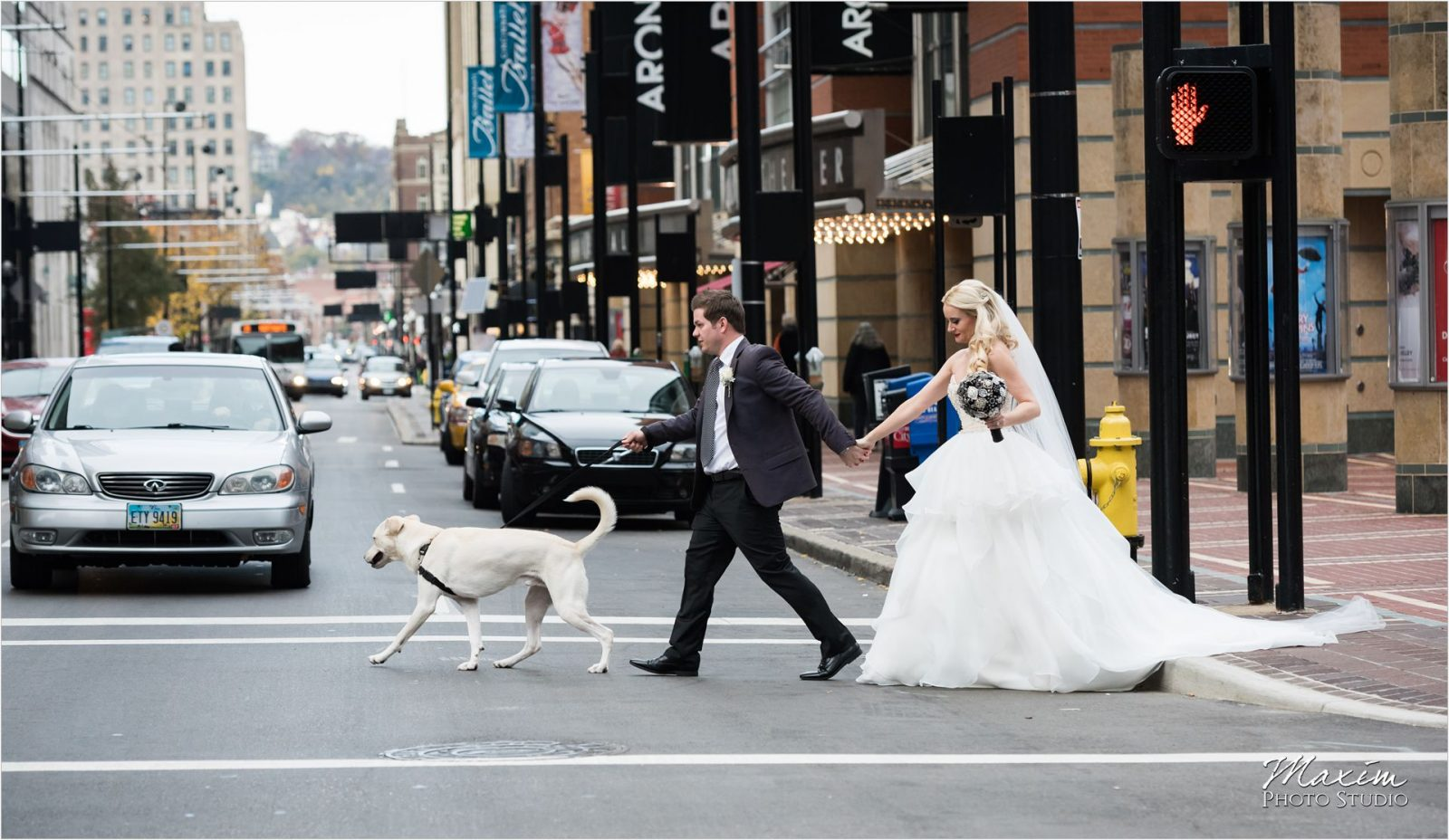 Cincinnati Wedding Photographers 21C Museum Hotel bride groom portraits dog