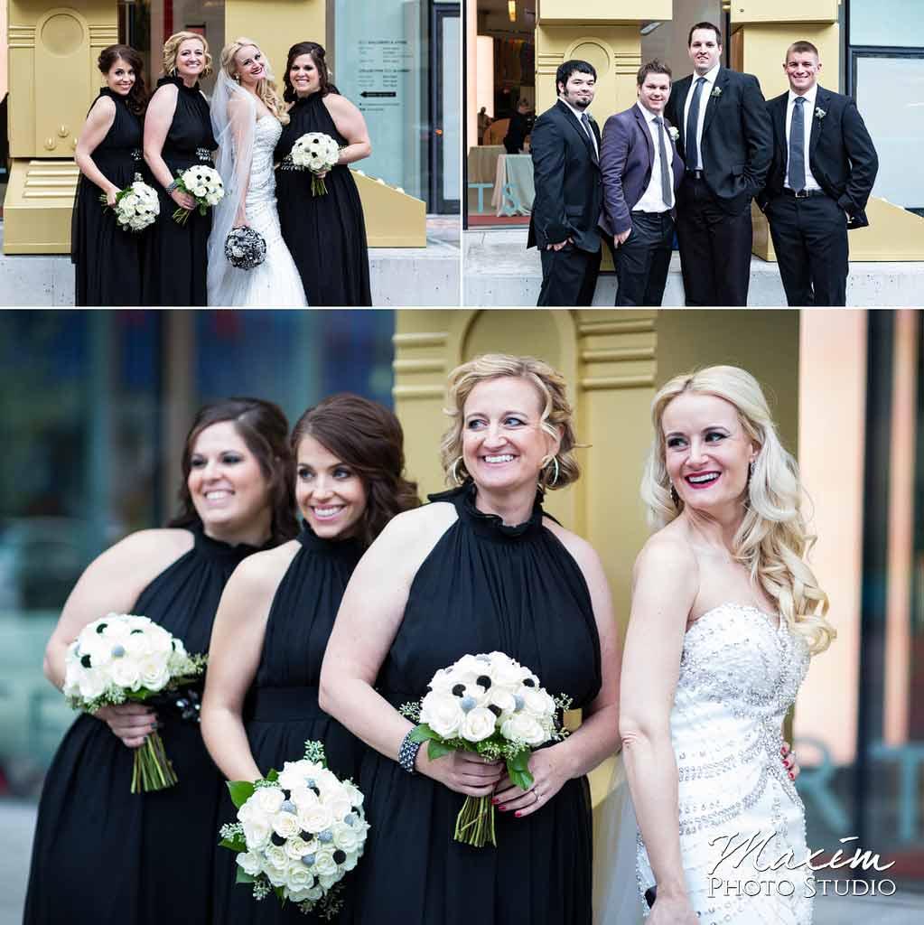 modern contemporary art center wedding bridal party