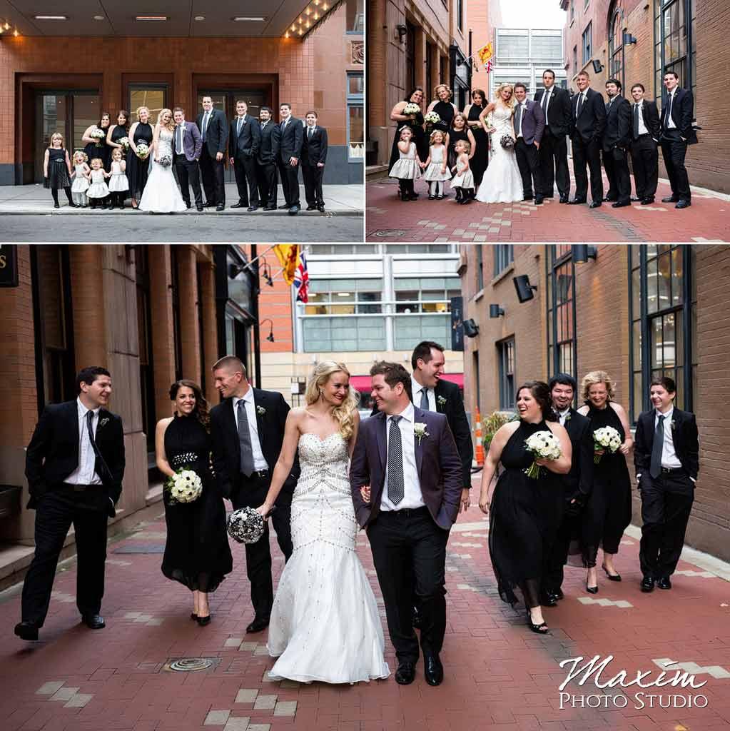 elegant contemporary art center wedding bridal party