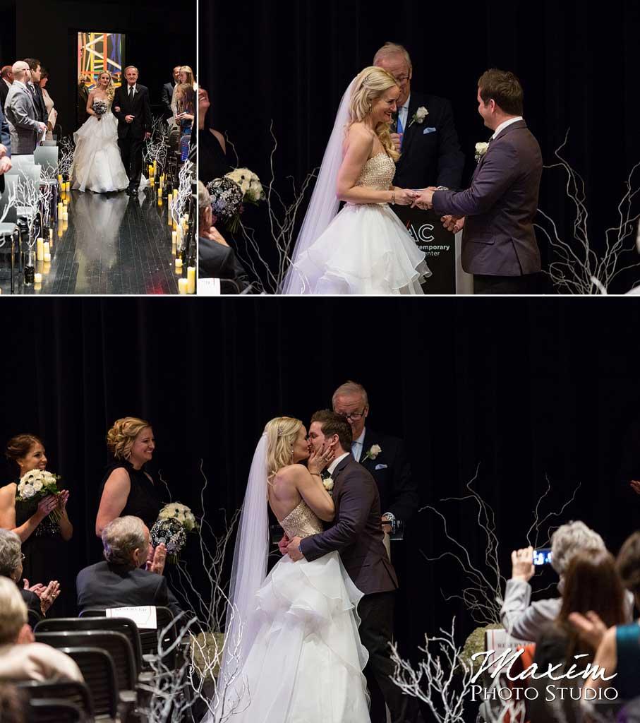 contemporary art center elegant wedding ceremony