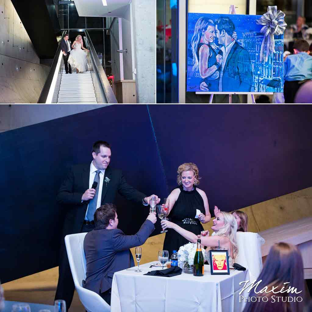 Contemporary art center wedding modern reception