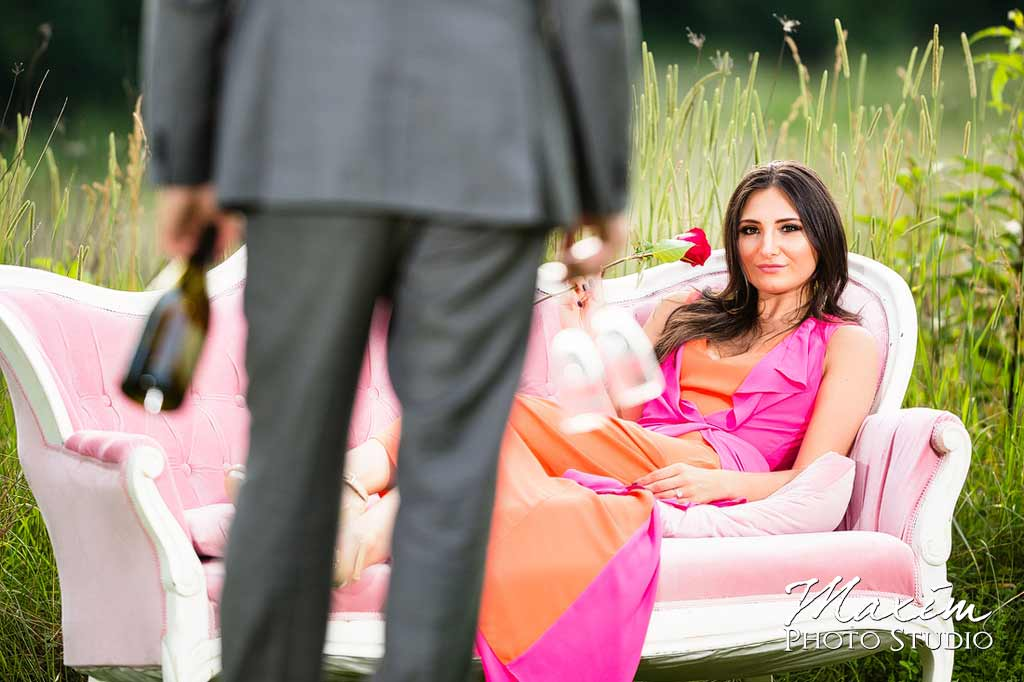 champagne flowers pink dress engagement