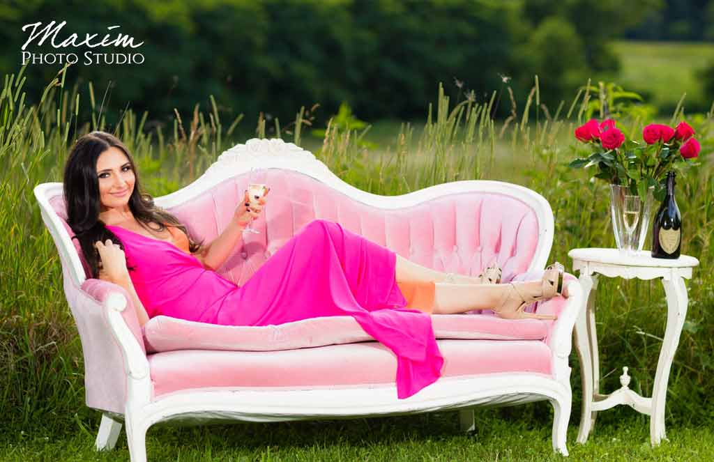Pink couch champagne bride field