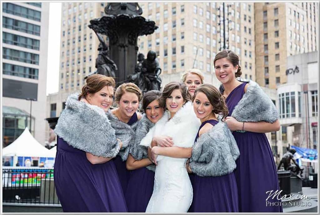 Fountain Square Cincinnati Wedding Bride Portraits