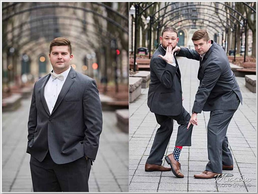 Cincinnati Wedding Photographers Hilton Netherland Wedding Groom