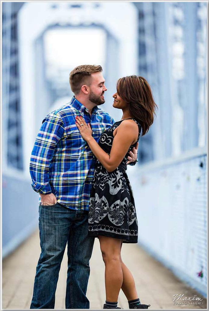 Cincinnati Wedding Photographers Purple People Bridge Engagement