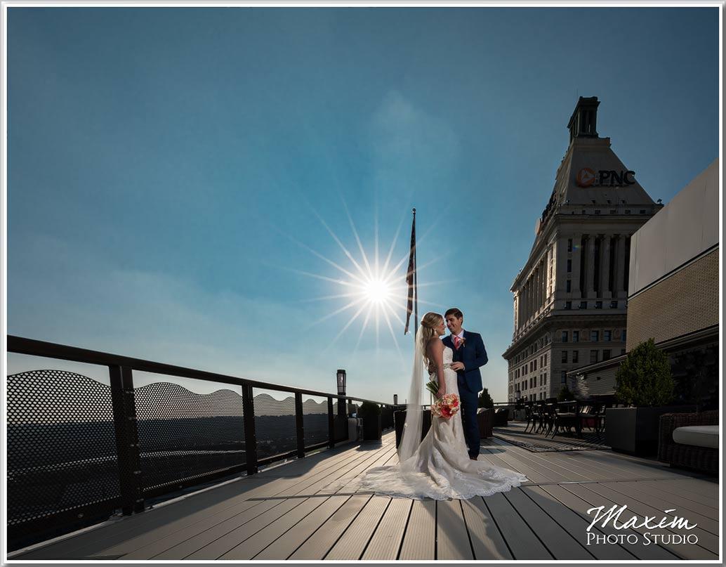 Top of Cincinnati Wedding sun flair picture