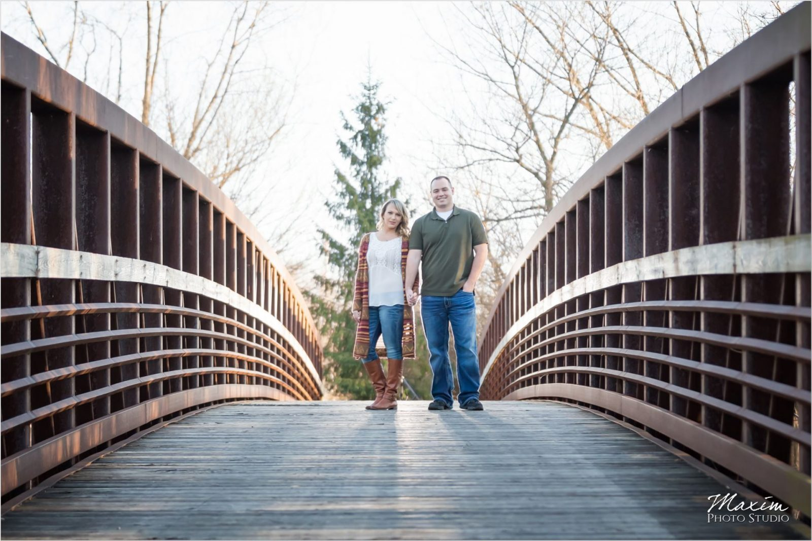 Dayton Wedding Photographers Faurot Park engagement bridge