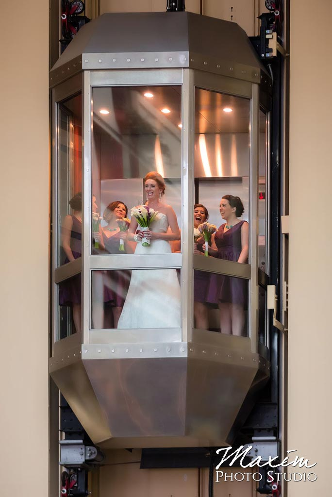 Marriott Rivercenter elevator wedding