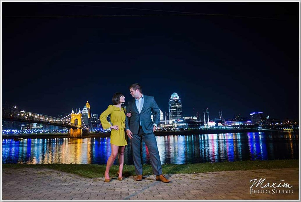 Ohio river Cincinnati skyline Engagement