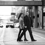 Cincinnati Wedding Photographers Fountain Square Engagement Black and White