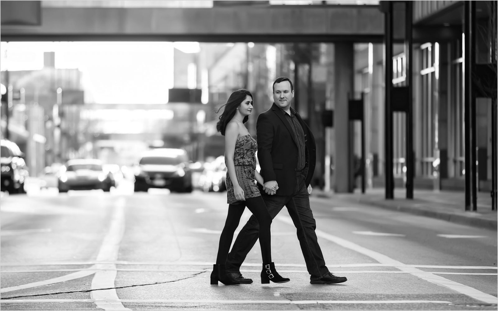 Cincinnati Wedding Photographers Fountain Square Engagement Black and White