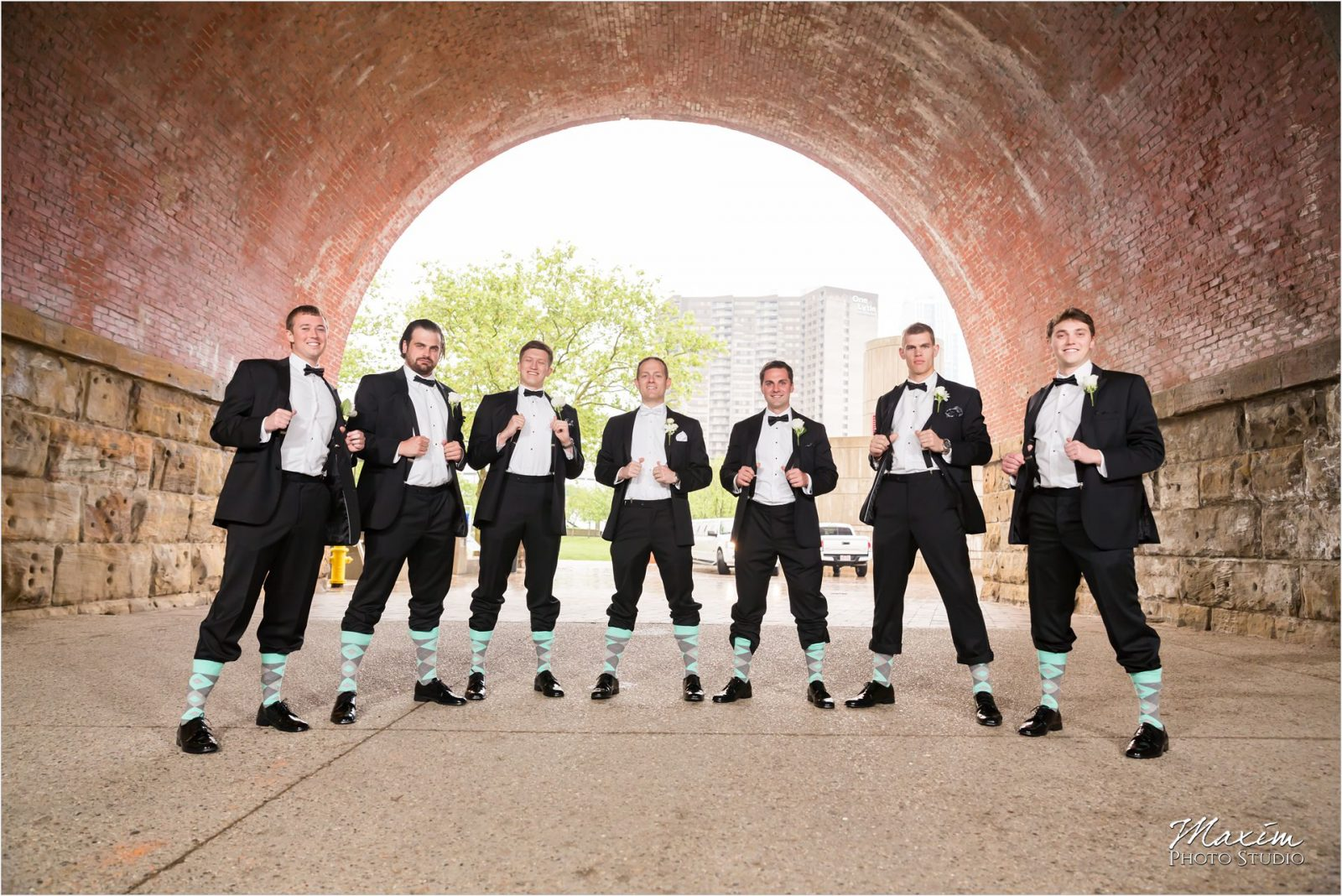 Yeatman's Cove Cincinnati Wedding pictures bride groomsmen socks