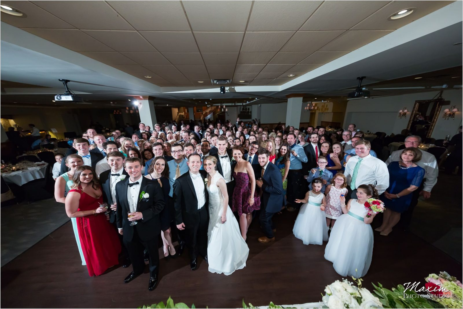 Madison Event Center Covington Kentucky Wedding Reception group photo
