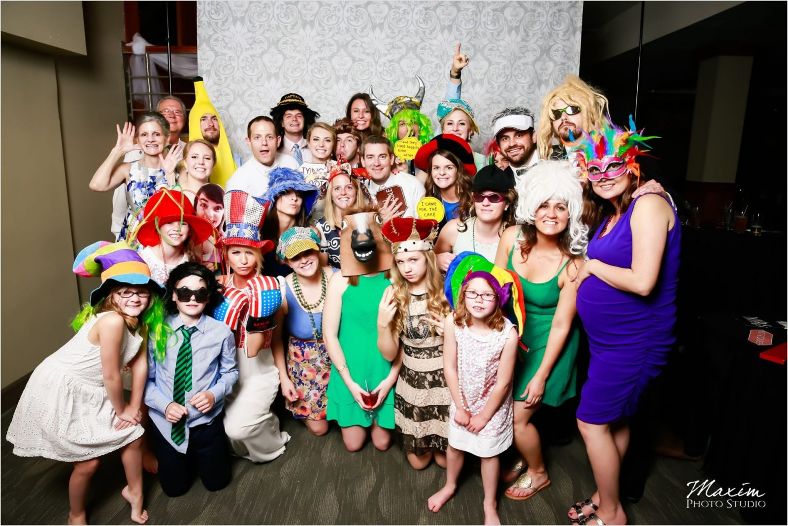 Madison Event Center Covington Kentucky Wedding Reception group unboxed photo booth