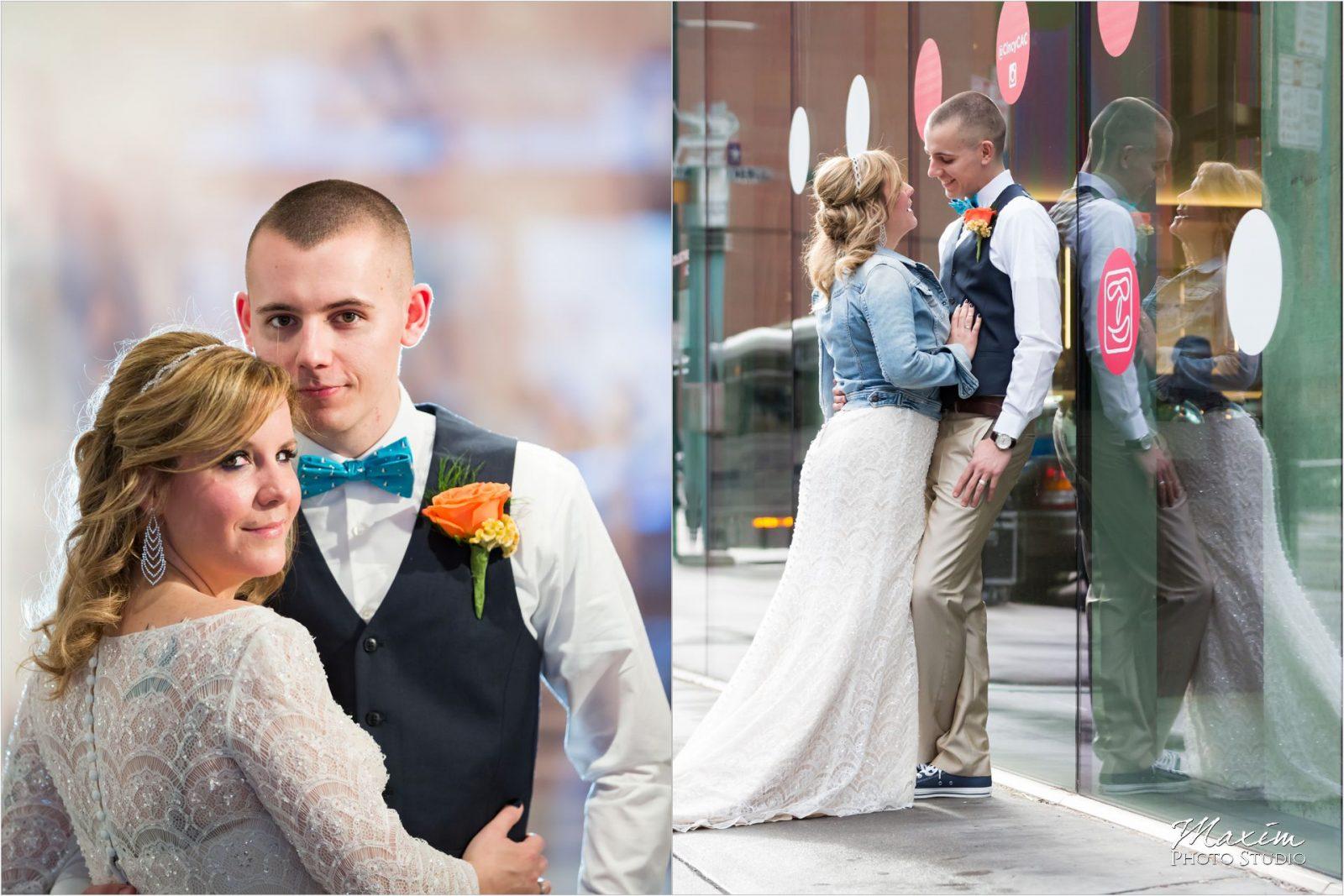 Contemporary Art Center Cincinnati Wedding groom bride