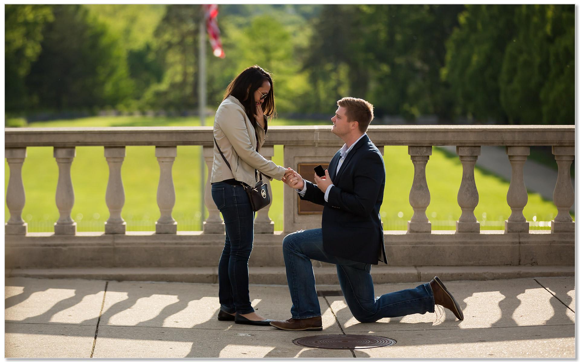 Ault Park Cincinnati Secret Engagement Proposal