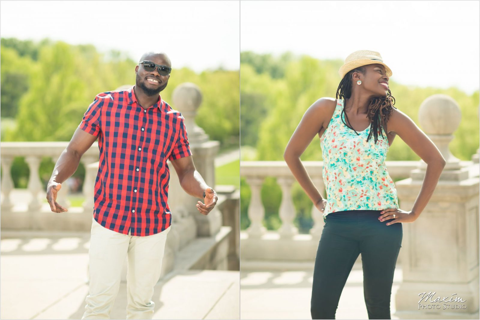 Ault Park Cincinnati Summer Engagement couple