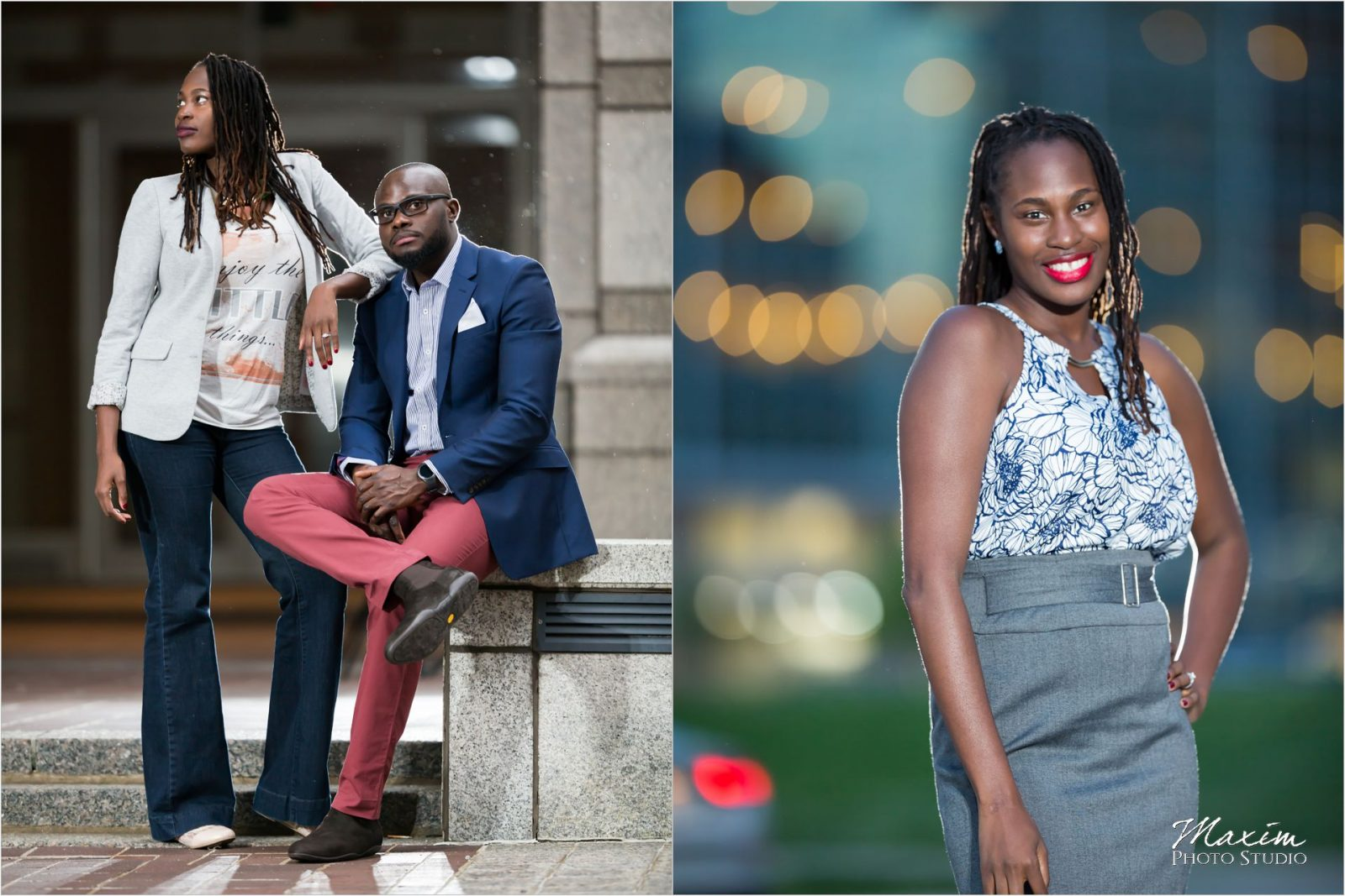 Downtown Cincinnati Night time engagement pictures
