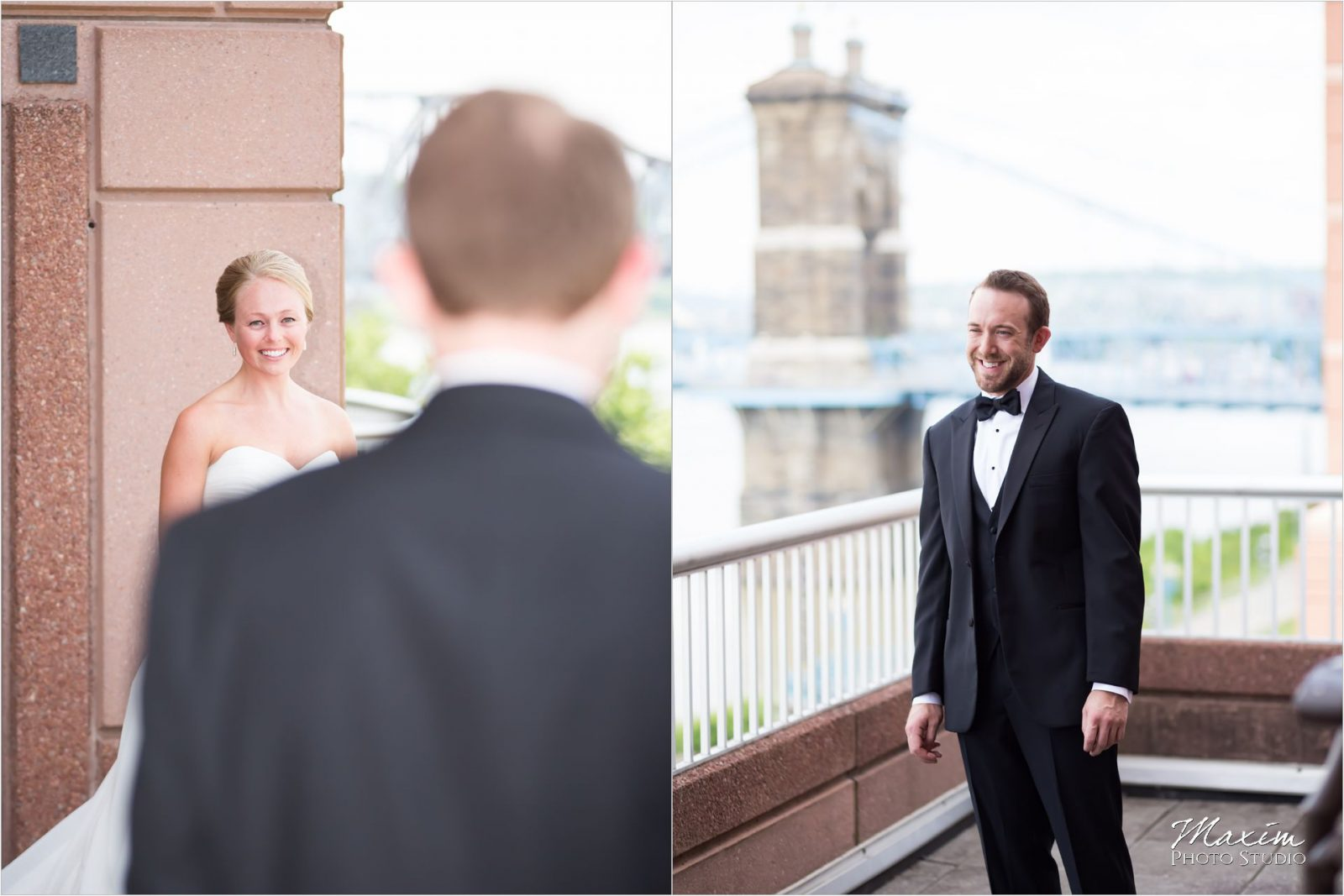 Marriott Rivercenter Covington Kentucky Wedding Groom Bride first look
