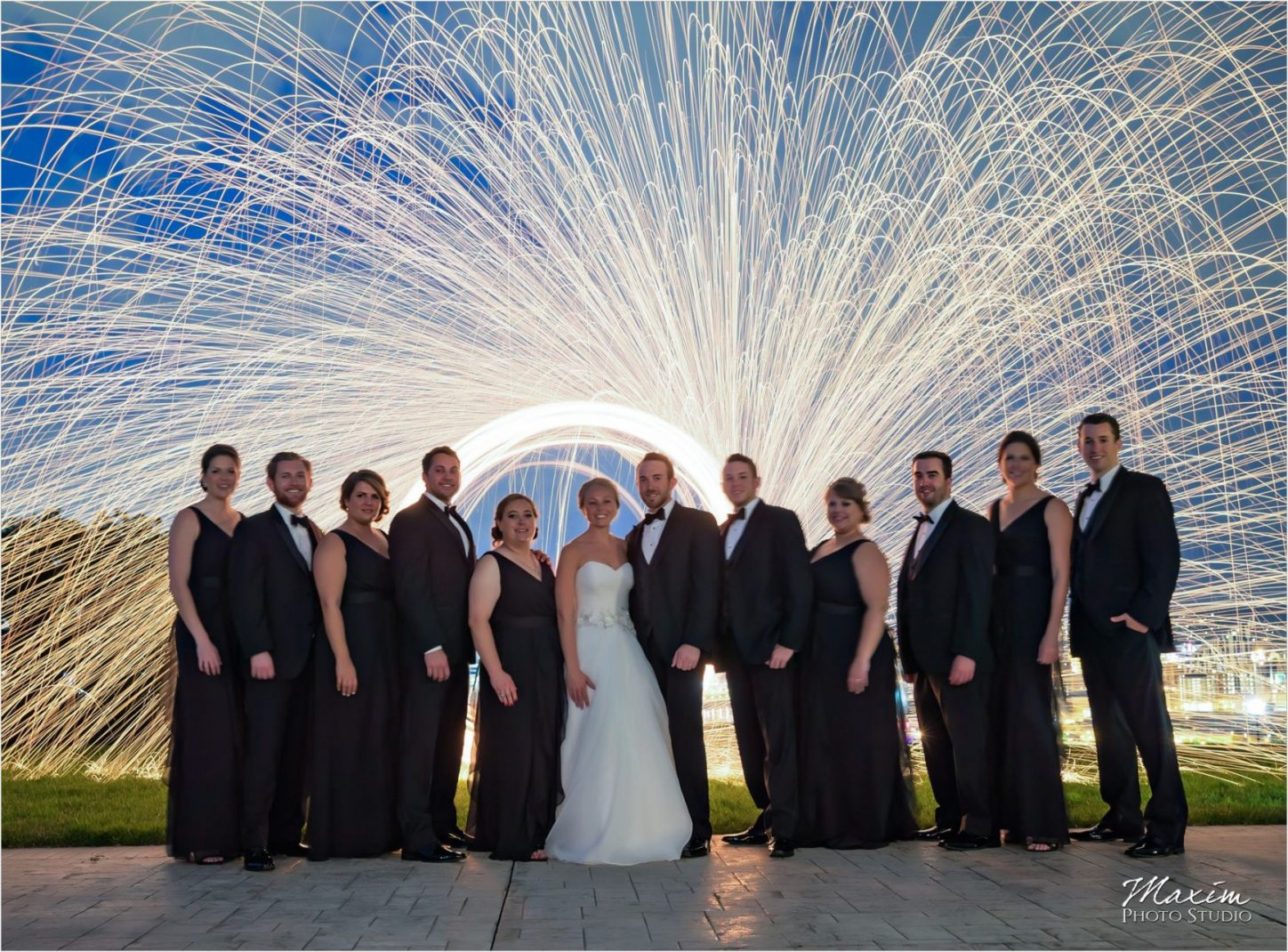 Drees Pavilion Bridal Party Cincinnati Skyline sparklers
