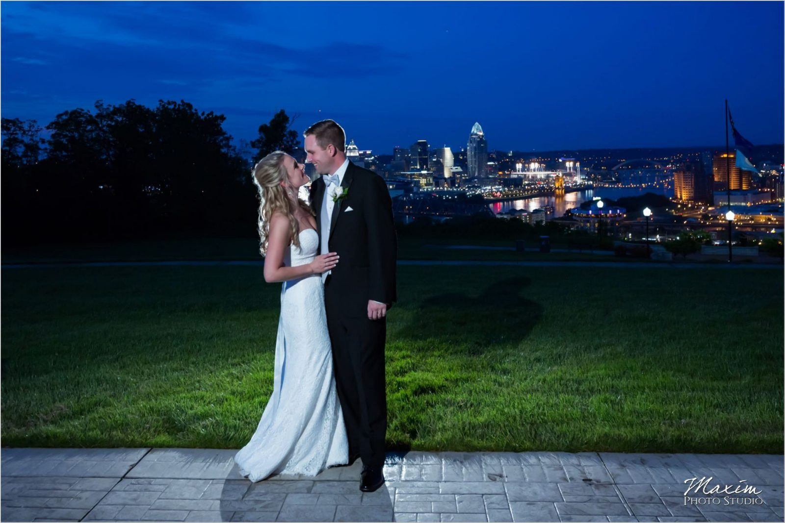 Drees Pavilion Night Cincinnati skyline Wedding