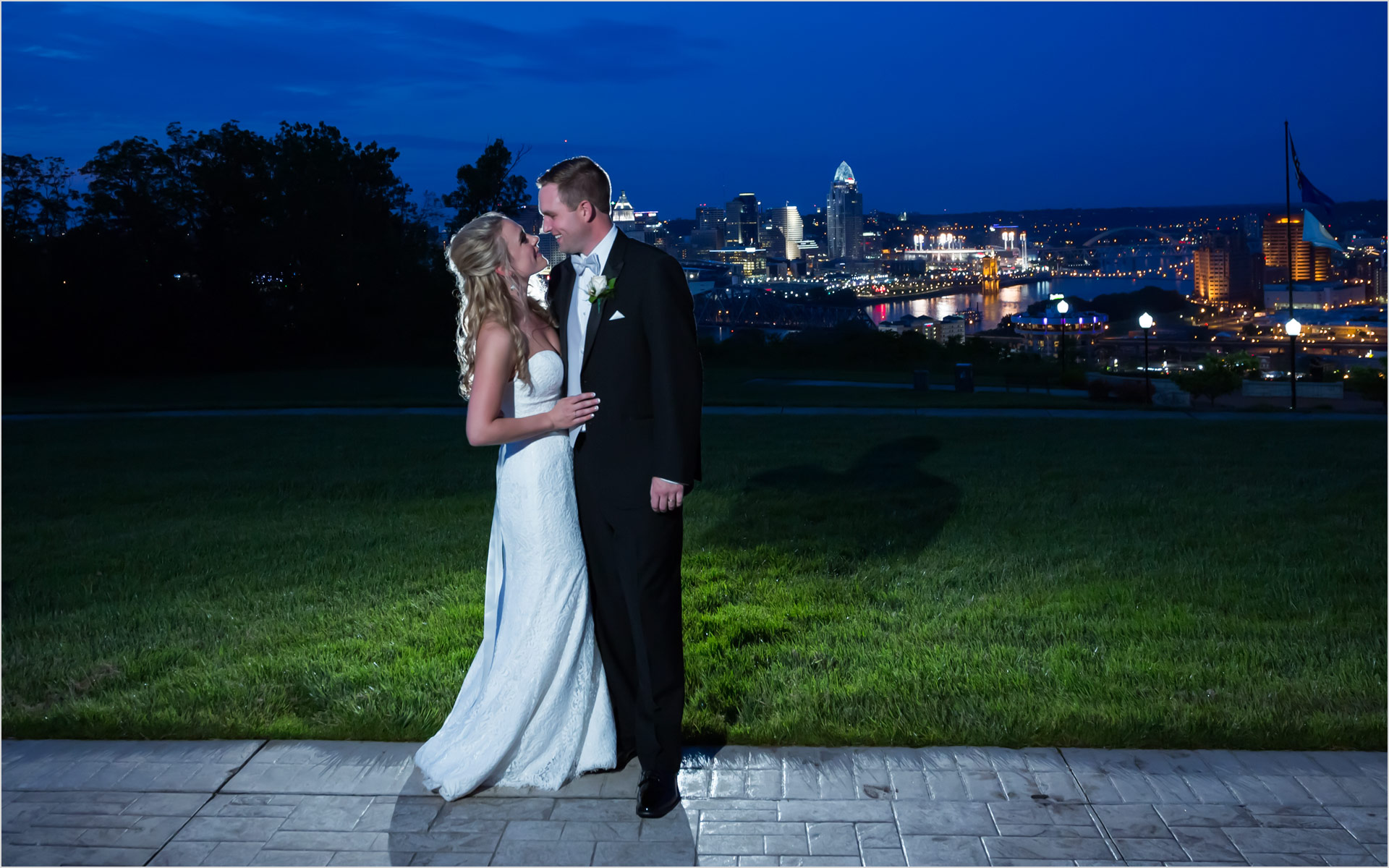 Drees Pavilion Cincinnati Skyline Wedding Bride groom