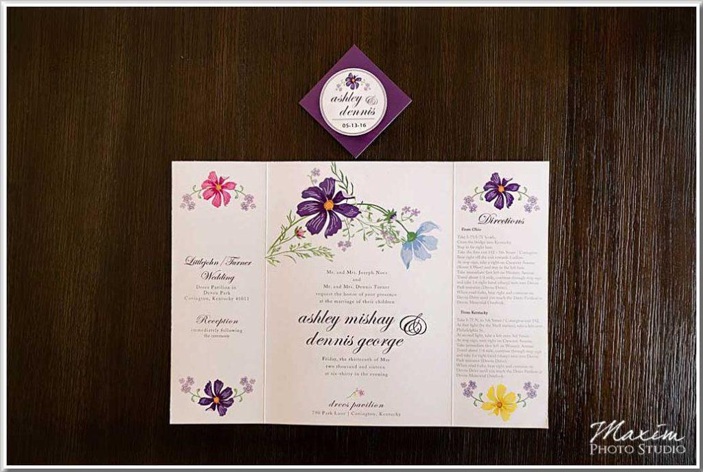 Drees Pavilion Wedding invitaton