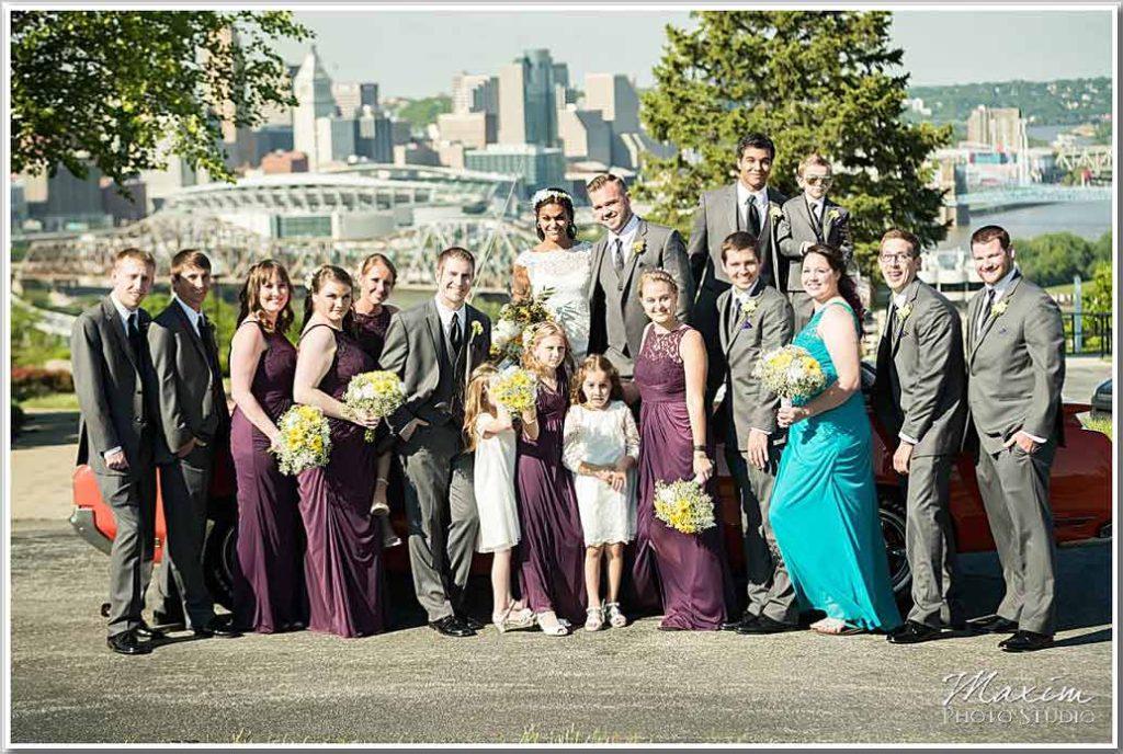 Drees Pavilion bridal party muscle car wedding cincinnati overlook