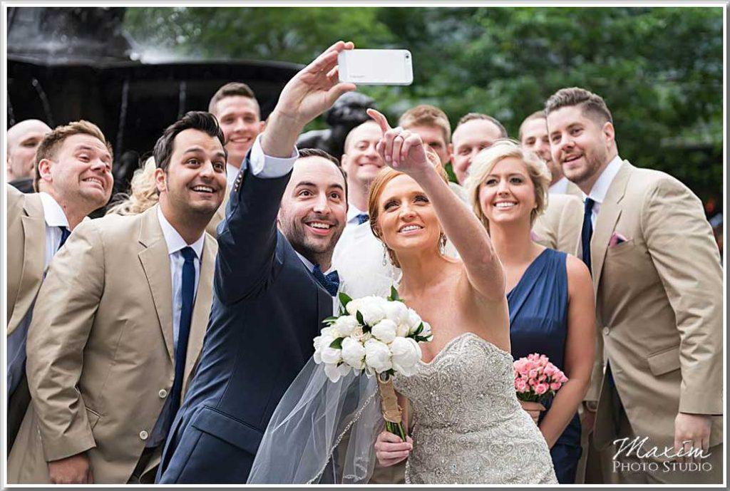 Cincinnati Fountain Square selfie Wedding