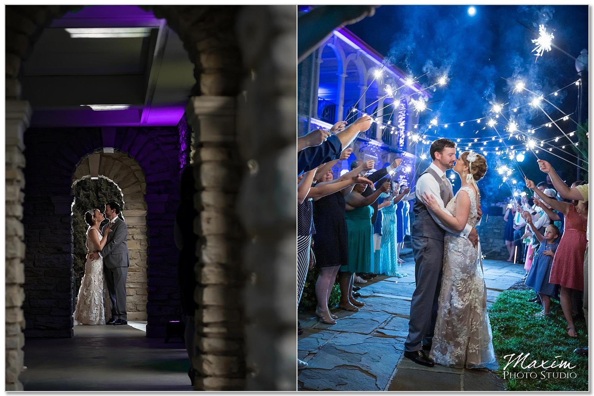 Alms Park wedding reception sparkler exit
