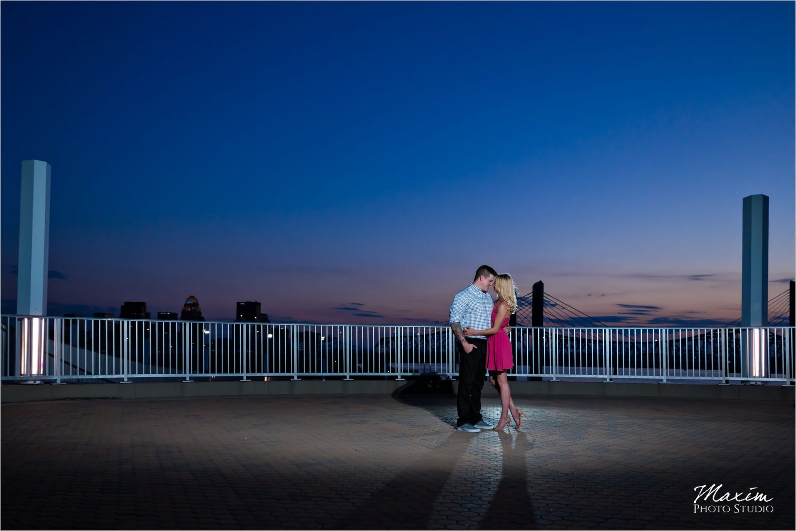 Cincinnati Wedding Photographers Louisville Waterfront Park bridge engagement sunset