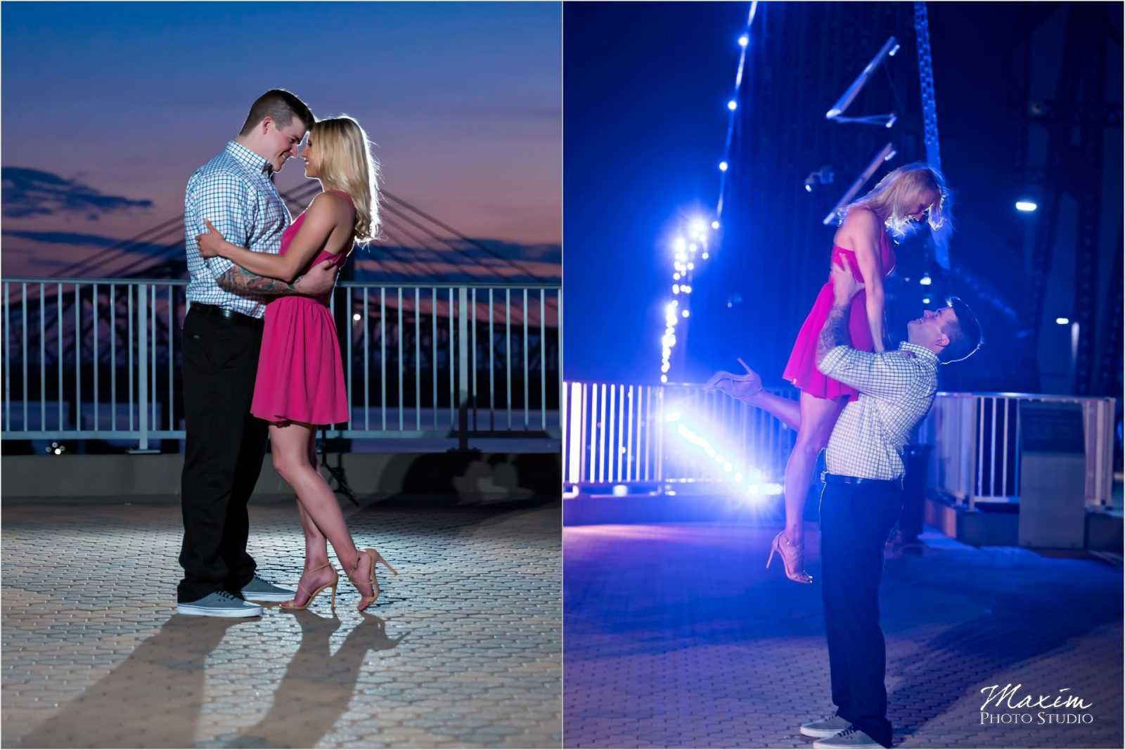 Cincinnati Wedding Photographers Louisville Waterfront Park bridge engagement nighttime