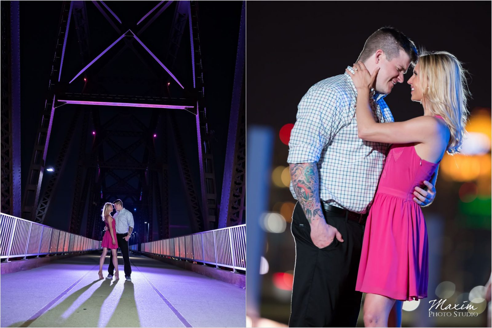 Cincinnati Wedding Photographers Louisville Waterfront Park bridge Night engagement