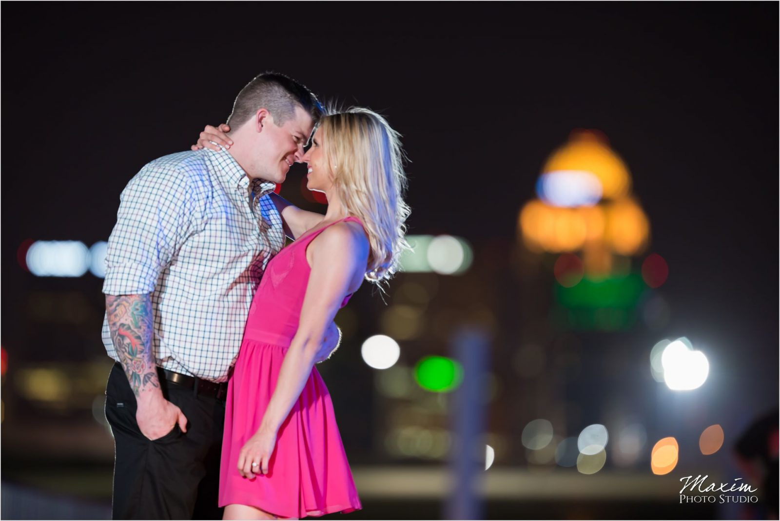 Cincinnati Wedding Photographers Louisville Waterfront Park bridge engagement