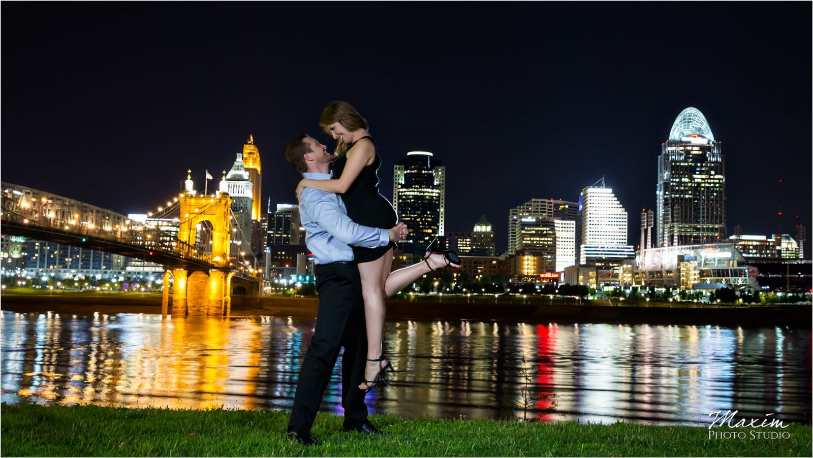 Ohio River Cincinnati skyline night engagement