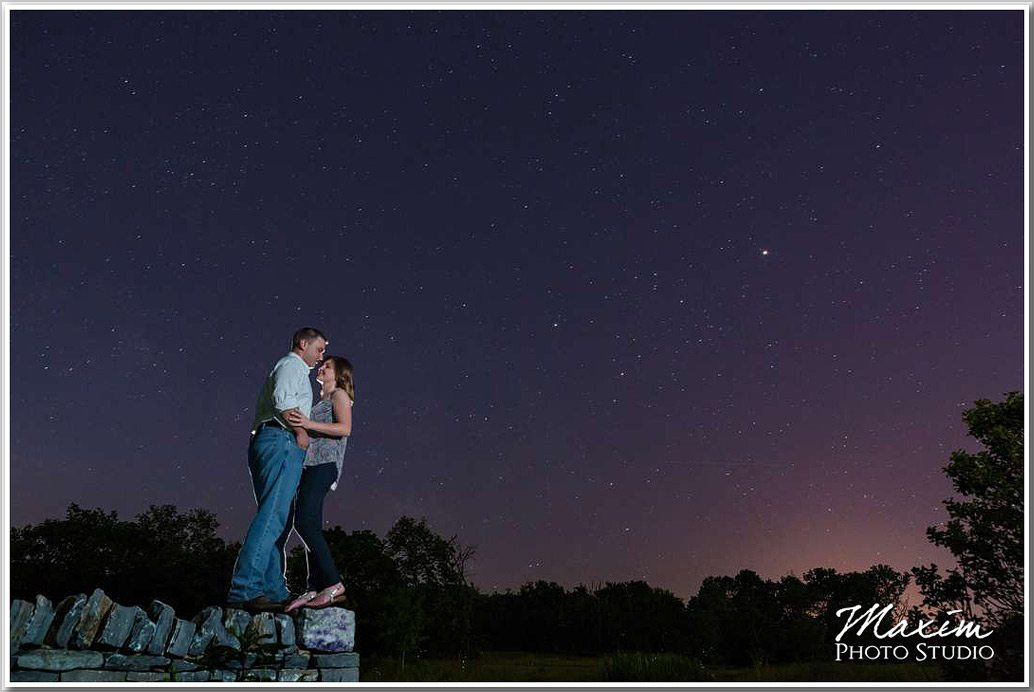 Louisville Kentucky Engagement Photography night sky
