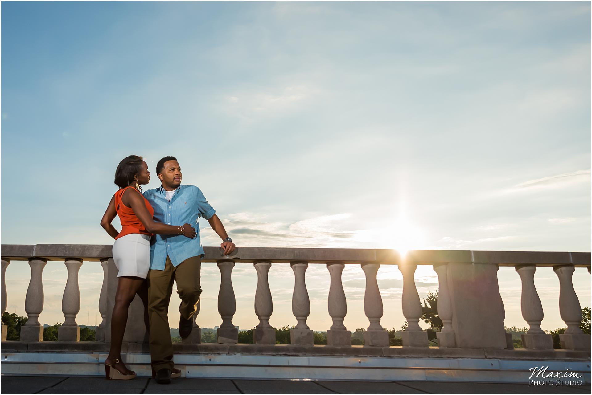 Ault Park, Cincinnati Engagement, sunset blue sky
