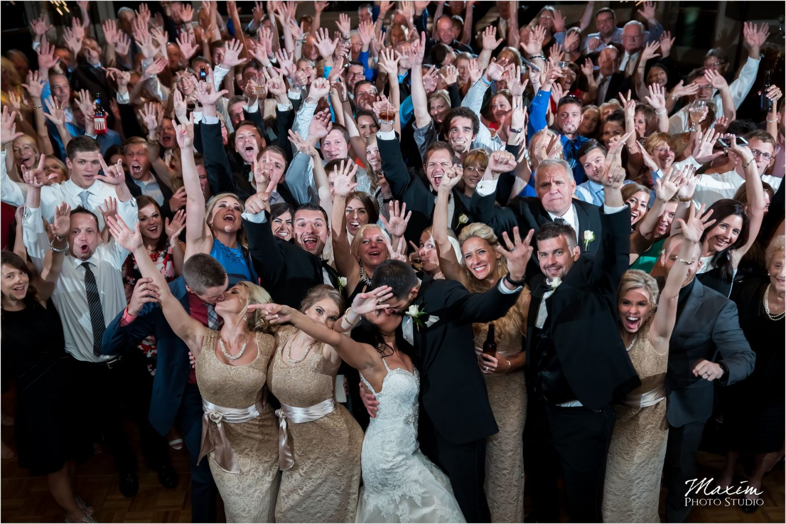 Drees Pavilion Covington Kentucky Wedding Reception Group Photo