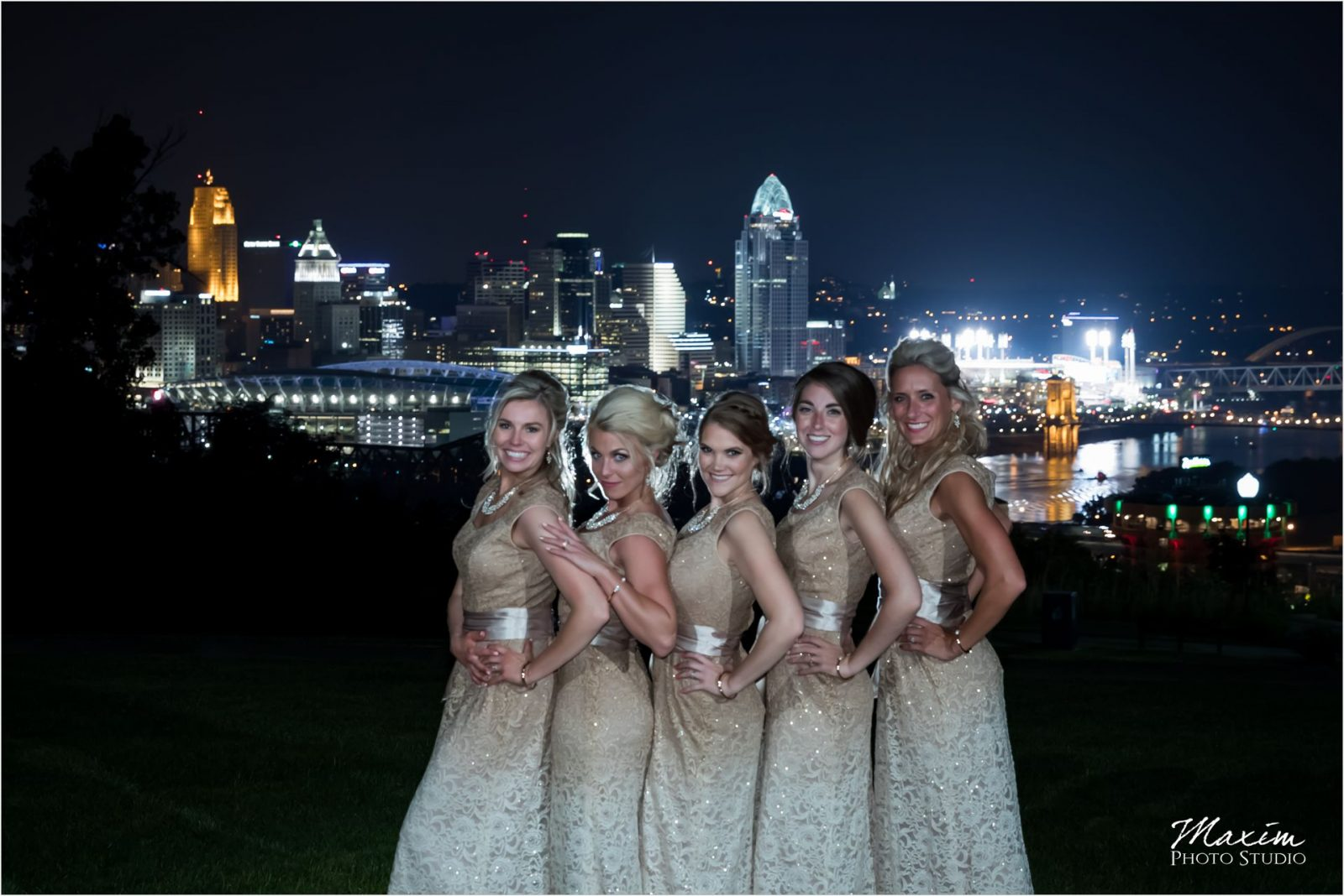 Drees Pavilion Covington Kentucky Cincinnati Night picture Bridesmaids