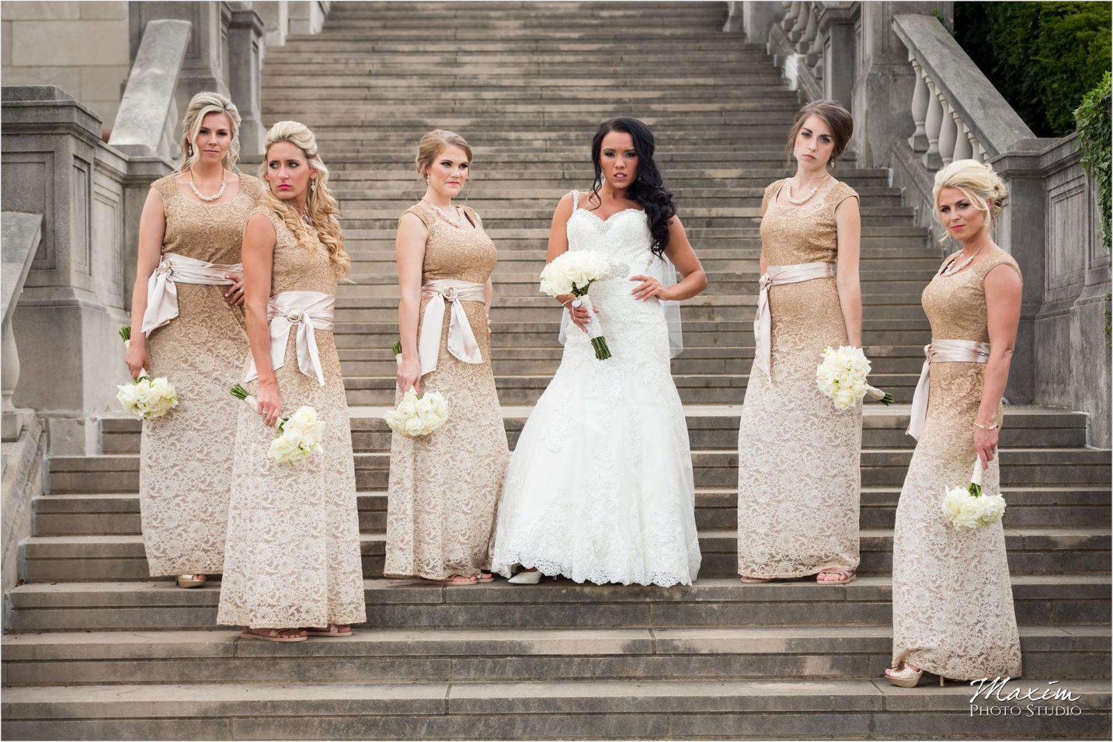 Ault Park Cincinnati Bride Bridesmaids Pavilion steps