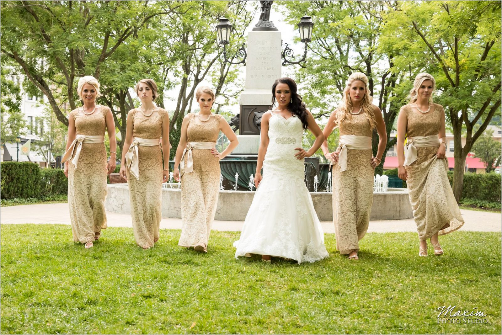 Hyde Park Cincinnati Bride Bridesmaids walking
