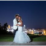 Drees Pavilion Kentucky Cincinnati skyline wedding bride groom