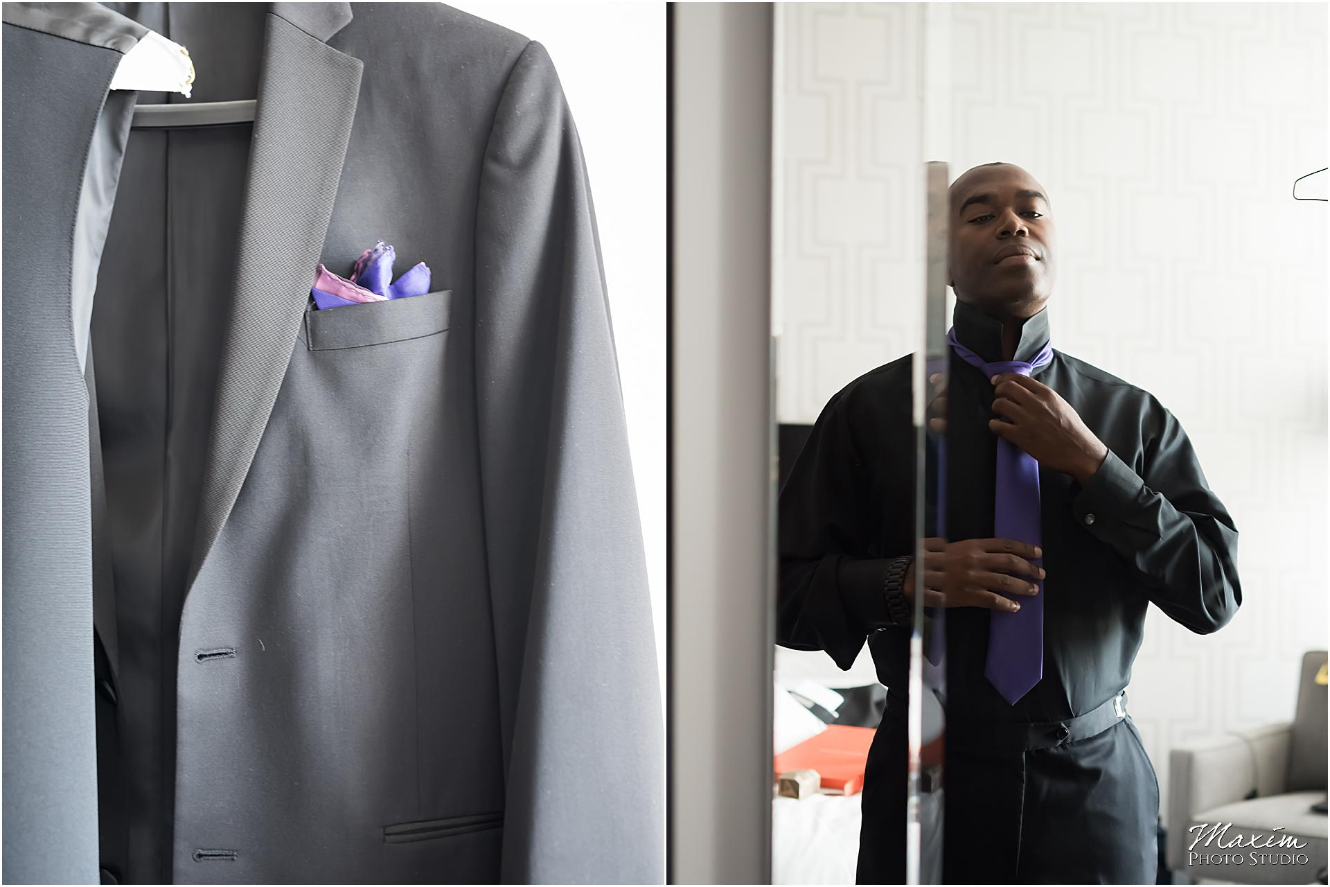 St. Aloysius Chapel Cincinnati Wedding groom preparations suit