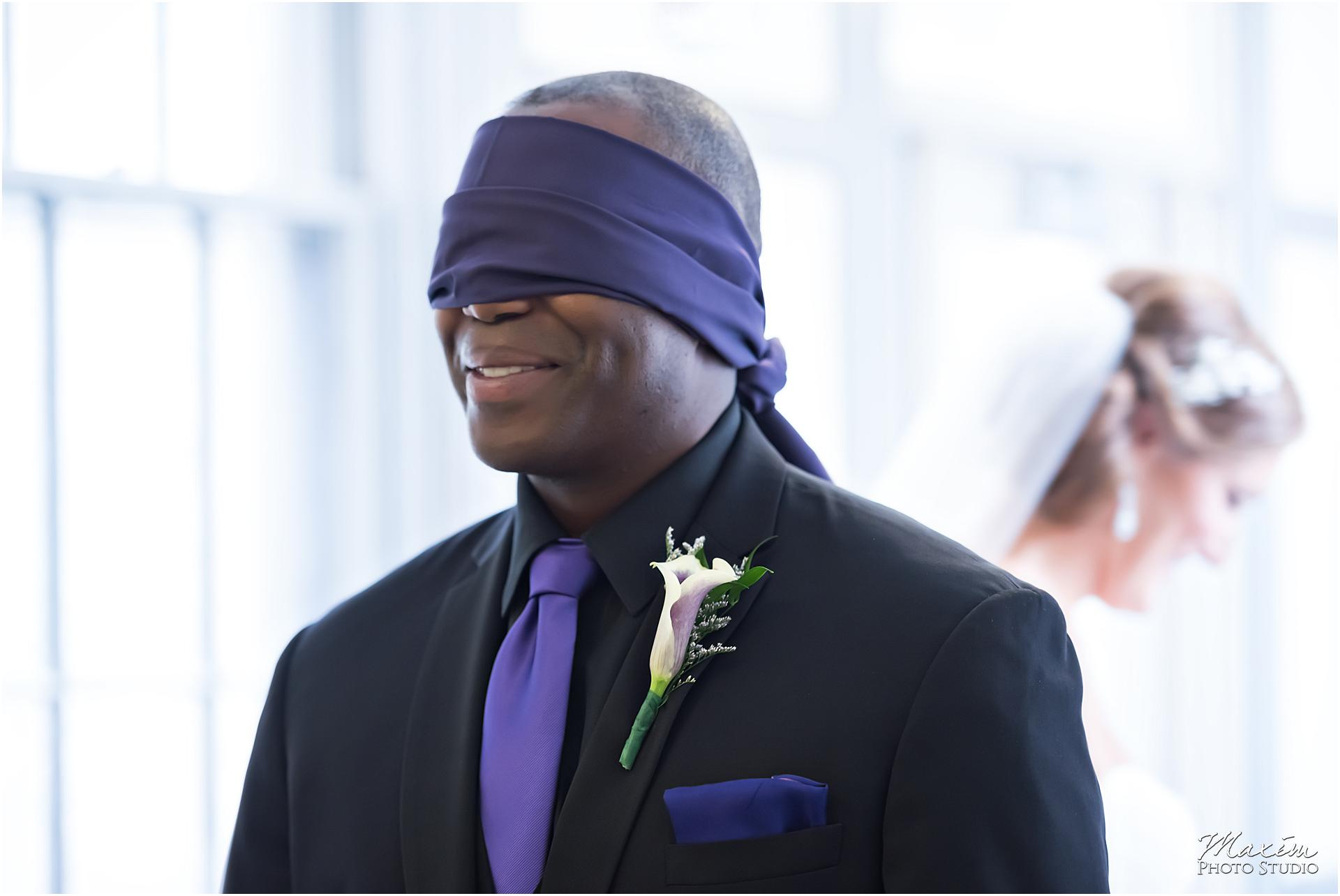 St. Aloysius Chapel Cincinnati Wedding groom blindfold